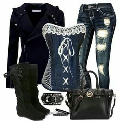 Jean corset with black accessories