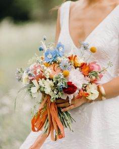 Go inside this couple's England wedding, which melded both the bride and groom's American and British cultures. Wildflower Bridal Bouquets, Bride Bouquets, Floral Bouquets, Floral Wedding, Wedding Colors, Wild Flower Wedding, Bright Color Wedding, Wedding Beauty, Dream Wedding