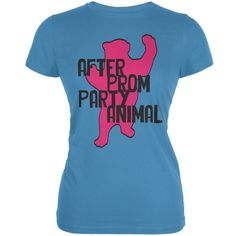 Bear After Prom Party Animal Aqua Juniors Soft T-Shirt