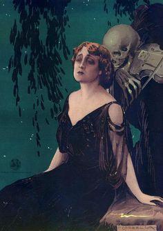 Death grim reaper Father Time scythe maid girl woman dance danse macabre skull skeleton