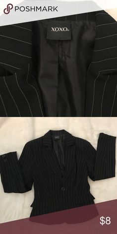 Adorable pin striped XoXo blazer Sure to turn heads at work, this fitted blazer will look good with any slacks or business dress. Size medium will fit 2-4 XOXO Jackets & Coats Blazers