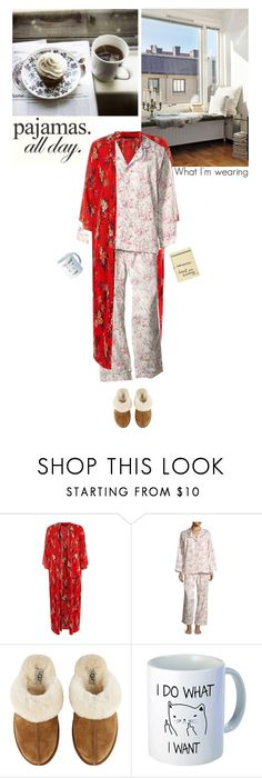 """my loungewear look for the weekend"" by helena99 ❤ liked on Polyvore featuring Bed Head by TIGI, UGG, Olympia Le-Tan, pajamas, pjs, kimono, whatimwearing, LovelyLoungewear and plus size clothing"