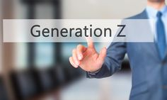 Generation Z -  Businessman press on digital screen.