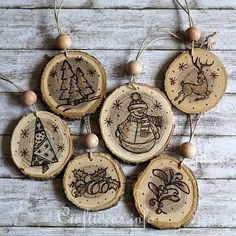 Wood Crafts for Christmas - Wood Burned Christmas Ornaments From Wooden Branch Slices Christmas Wood Crafts, Noel Christmas, Homemade Christmas, Rustic Christmas, Holiday Crafts, Christmas Ideas, Christmas Stencils, Christmas Patterns, Wood Burning Crafts