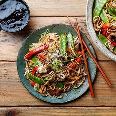 Easy Beef Lo Mein, I would add mushrooms, water chestnuts and baby bok choy as well.