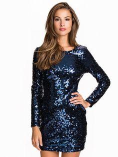 Scoop Back Sequin Dress - Nly One - Navy - Festklänningar - Kläder - Kvinna - Nelly.com