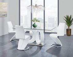 Global USA White Futuristic Design Esstisch mit Glasplatte Global USA White Futuristic D White Dining Room Sets, Dining Set, Office Table And Chairs, Dinner Table Set Up, Glass Dining Room Table, Contemporary Dining Table, Futuristic Design, Top Usa, Furniture Usa