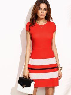 8a95de4d92f33 Shop Striped Print Cap Sleeve A Line Dress online. SheIn offers Striped  Print Cap Sleeve