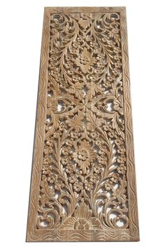 Fl Wood Carved Wall Panel Hanging Asian Home Decor Decorative Thai