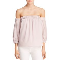 Milly Stretch Silk Off-The-Shoulder Blouse (6,350 MXN) ❤ liked on Polyvore featuring tops, blouses, petal, off shoulder blouse, pastel tops, pink top, pink off the shoulder top and off the shoulder tops