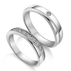 Diamond Wedding Rings for Couples Custom Names Engraved ($34)