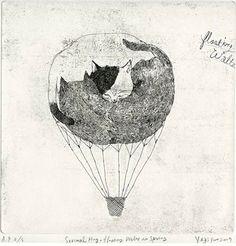 korean artist Yeji Yun   Cat Air-balloon