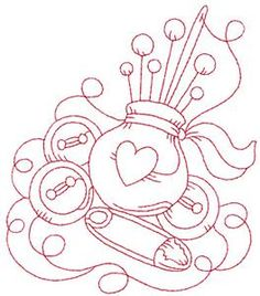 Pin cushion with heart redwork