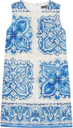 Dolce & Gabbana Printed Cotton and Silk-Blend Brocade Mini Dress, Fashion, Blue Majolica, h-a-l-e.com #SummerBlue