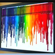 Playroom art! Great craft project for kids and parents to do together. Take crayons and glue together and melt to allow a colorful art project. (Land of Nod)