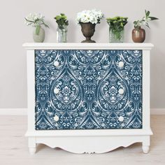 World Menagerie Laith x Bohemian Damask Indigo Wallpaper Roll Wood Wallpaper, Damask Wallpaper, Wallpaper Panels, Wallpaper Online, Geometric Wallpaper, Wallpaper Roll, Peel And Stick Wallpaper, Wallpaper Furniture, Adhesive Wallpaper