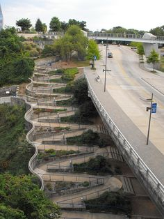A pathway between the river and the Art Gallery in Chattanooga, Tennesee, USA, ensures that everyone can conect between waterfront trails and nearby destinations.