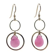 Pink jade, gold-filled earrings by independent designer Lisa Dora