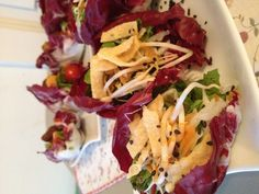 Japanese inspired organic salad wraps with house made ginger tomato dressing for the LA opera club's Madame Butterfly party Madame Butterfly, Salad Wraps, Butterfly Party, House Made, Catering, Spoon, Opera, Dressing, Organic