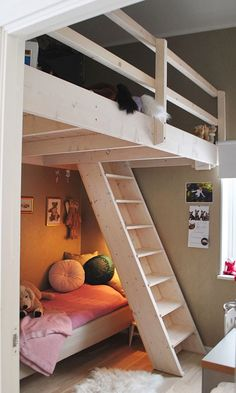 Loft beds are excellent space saving ideas for small rooms. Nothing better than a loft bed makes a small bedroom more spacious, functional and comfortable. Loft beds create extra space by building the bed upward and allowing the space below it to be Bedroom Loft, Kids Bedroom, Bedroom Ideas, Master Bedroom, Mezzanine Bedroom, Raised Beds Bedroom, Attic Bedrooms, Loft Room, Kids Loft Bedrooms