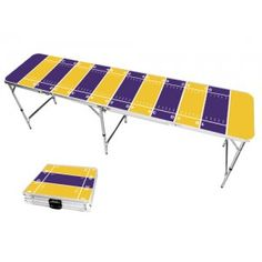 Yellow Gold & Purple Football Field 8 Foot Portable Folding Tailgate Beer Pong Table from TailgateGiant.com
