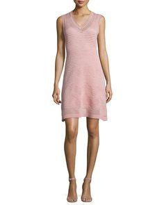 TC07V M Missoni Zigzag V-Neck Sleeveless Dress, Blush