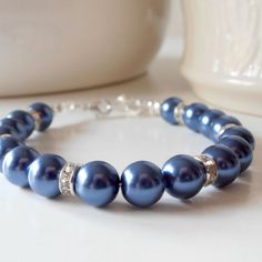Navy Blue Bridesmaid Jewelry Pearl Bracelet Beaded Jewelry Sets Wedding Jewelry Handmade Midnight Blue Dark Blue Silver Avalon