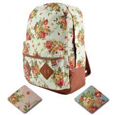 New Girls Canvas Flower Rucksack Backpack School College Travel Cabin Bag US$6.80