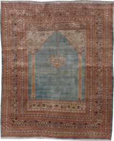 Antique Silk Tabriz Rug
