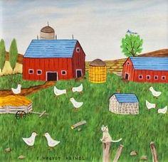 Original Art Oil Painting Listed Folk Artist Chicken Farm Framed Charity Auction    eBay