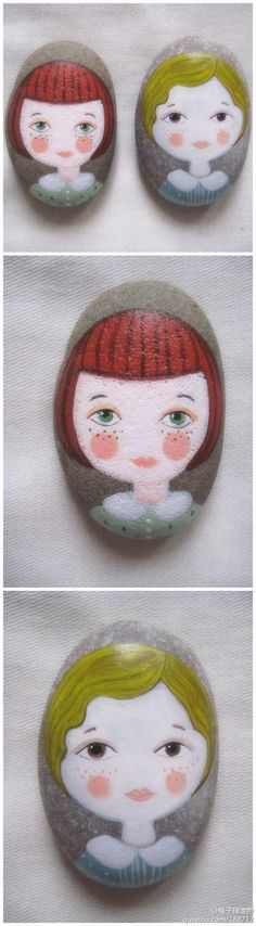 Painted stones, faces/portraits ||| DIY, nature craft