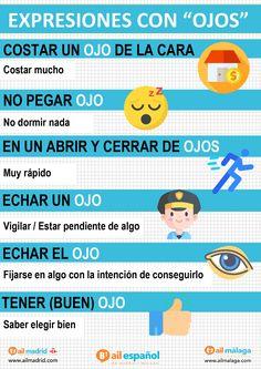 En español hay muchas expresiones con vocabulario del cuerpo. 🤓🧐 Aquí va una imagen de expresiones con la palabra ''OJO/S'' 👁 Ojos ¿Conocías algunas? ¡Coméntanos si conoces más! #ailmalaga #ailmalagavocabulario #quedateencasa