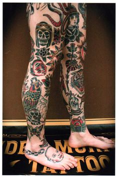 leg tattoos done by the artist Stuart G Cripwell