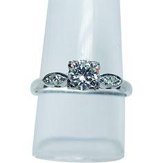 Vintage .64ct Old European Diamond Ring 14K White Gold Estate Jewelry
