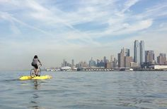 the baycycle project, currently seeking funding on indiegogo, is an easy-to-use system that connects any bike to a pontoon-like base, marking a new frontier in aquatic sport and travel: water biking. Travel Store, Bike Kit, Water Systems, Wanderlust Travel, Rafting, The Great Outdoors, Kayaking, New York Skyline, Adventure