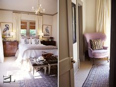 monogram pillows, chandelier, bamboo, white, chests, painted door Design @MegLonergan