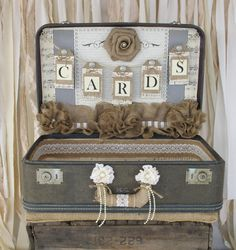 Vintage Suitcase Wedding Card Holder Shabby Chic Wedding Rustic Country Wedding - love this idea!