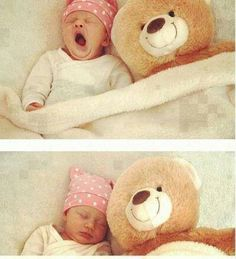 Baby yawning and sleeping with a teddy bear Little Babies, Little Ones, Cute Babies, Baby Kids, Cute Baby Pictures, Baby Photos, Cutest Thing Ever, Favim, My Baby Girl