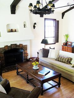 Spanish revival - fireplace, beams