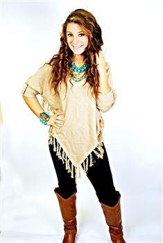 Tassel Me Up Poncho - Taupe $46.99 #SouthernFriedChics