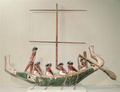 Modèle de barque, scène de navigation (provenant de la tombe de Nakhti), Assiout