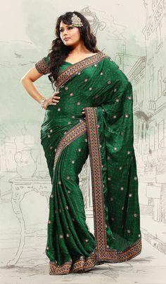 emerald green  ornaments and fashion accessories | Emerald Green Satin Designer Saree with Attractive Border