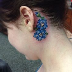 Forget Me Not Flower Tattoos | Walk-in with a good idea. Forget me not flowers- love this shading .