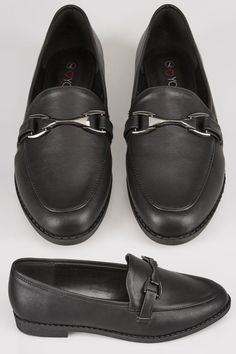 cfcfefcfbc1 Black Slip On Loafers In EEE Fit