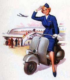 Flight attendant, Vespa. '50s calendar illustration.