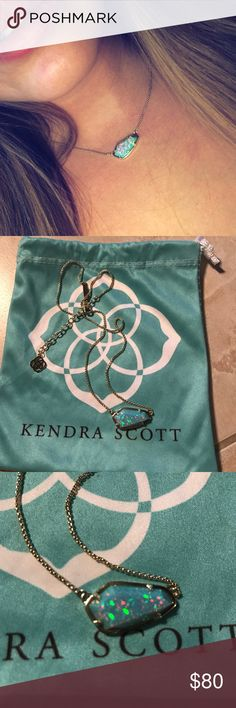 Kendra Scott aqua opal cami necklace I've worn this gem a few times, looks brand new. Pictures don't do this necklace justice! Even prettier in person. Cheaper on here than the KS website  Kendra Scott Jewelry Necklaces