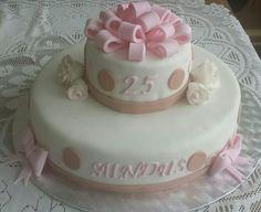 Classy polkadot pink and brown birthday cake