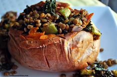 lentil kale & veggie stuffed sweet potato