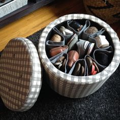 DIY Shoe Storage Ottoman--what a great idea--fabulous! I've seen white shoe ottomans to order, but I like this idea because I wouldn't (and my friends with KIDS!!) wouldn't want white!