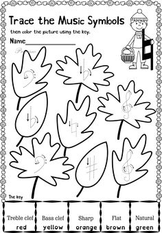 This set contains 20 Autumn themed trace and color music worksheets in two different formats pages in total). First kids trace music symbols, notes, rest and dynamics, then they color the picture using the key. All activities require no preparation Learning Music Notes, Music Math, Music Writing, Music Classroom, Kids Writing, Music Education, Easy Sheet Music, Music Theory Worksheets, Music Lessons For Kids